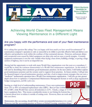 Achieving World Class Fleet Management Means Viewing Maintenance in a Different Light