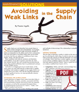 Avoiding weak links in the supply chain