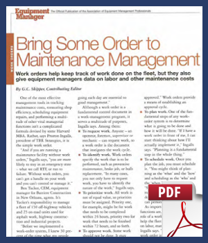 Bring Some Order to Maintenance Management