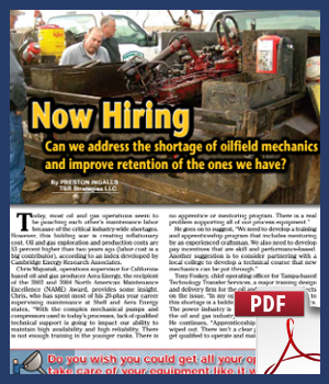 Can we address the shortage of oilfield mechanics and improve retention of the ones we have