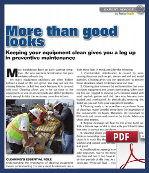 Keeping your equipment clean gives you a leg up in preventive maintenance