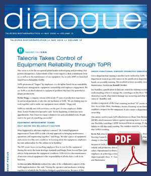 Talecris takes control of equipment reliability through ToPR
