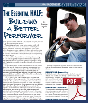 The Essential Half - building a better performer