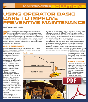 Using operator basic care to improve preventive maintenance