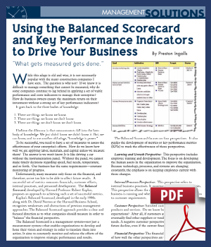 Using the Balanced Scorecard and Key Performance Indicators to Drive Your Business