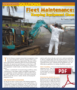 Fleet maintenance - keeping equipment clean