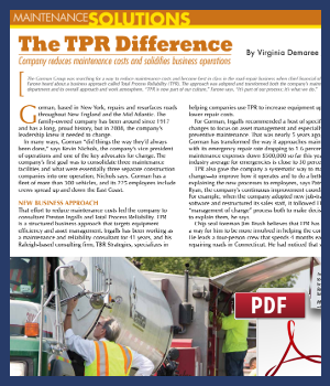 The TPR Difference - Company reduces maintenance costs and solidifies business operations